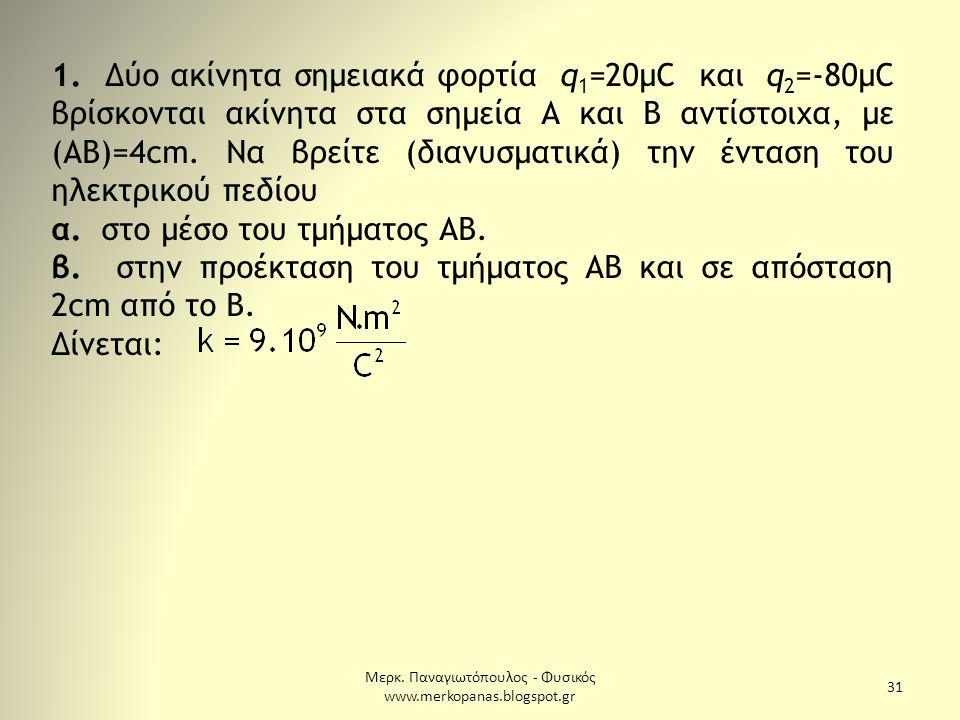Μερκ. Παναγιωτόπουλος - Φυσικός www.merkopanas.blogspot.gr 31 1. Δύο ακίνητα σημειακά φορτία q 1 =20μC και q 2 =-80μC βρίσκονται ακίνητα στα σημεία Α