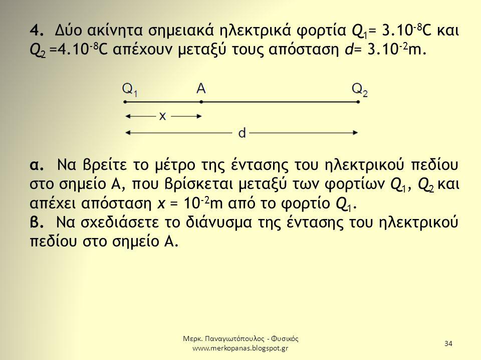 Μερκ. Παναγιωτόπουλος - Φυσικός www.merkopanas.blogspot.gr 34 4. Δύο ακίνητα σημειακά ηλεκτρικά φορτία Q 1 = 3.10 -8 C και Q 2 =4.10 -8 C απέχουν μετα