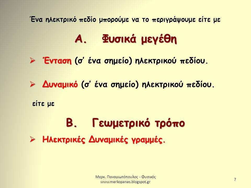 Μερκ. Παναγιωτόπουλος - Φυσικός www.merkopanas.blogspot.gr 7 Ένα ηλεκτρικό πεδίο μπορούμε να το περιγράψουμε είτε με Α. Φυσικά μεγέθη  Ένταση  Έντασ