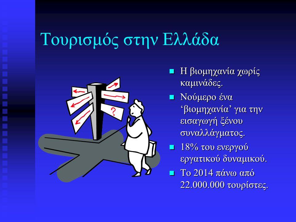 Τουρισμός στην Ελλάδα Η βιομηχανία χωρίς καμινάδες. Νούμερο ένα 'βιομηχανία' για την εισαγωγή ξένου συναλλάγματος. 18% του ενεργού εργατικού δυναμικού