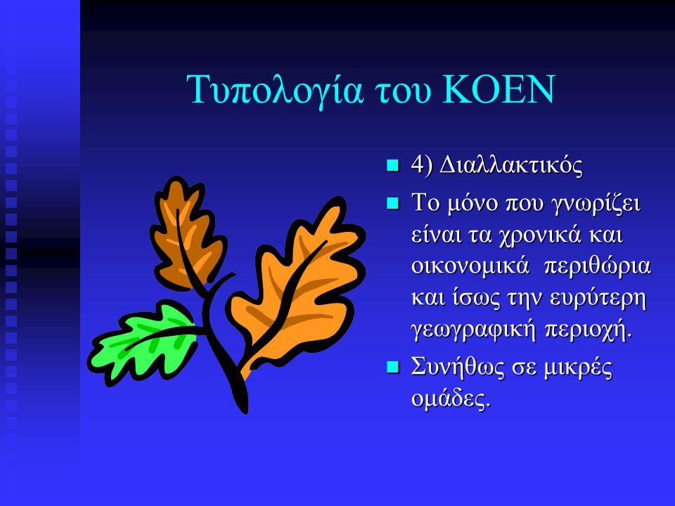 Τυπολογία του ΚΟΕΝ 4) Διαλλακτικός Το μόνο που γνωρίζει είναι τα χρονικά και οικονομικά περιθώρια και ίσως την ευρύτερη γεωγραφική περιοχή. Συνήθως σε
