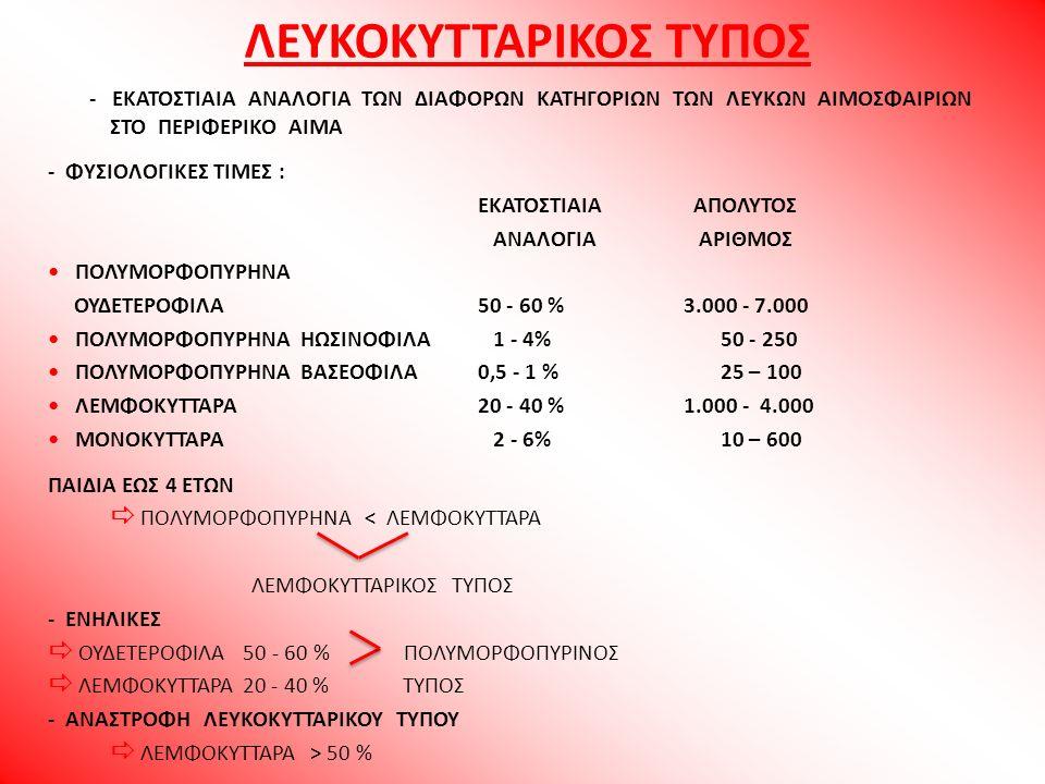 ΛΕΥΚΟΚΥΤΤΑΡΙΚΟΣ ΤΥΠΟΣ - ΕΚΑΤΟΣΤΙΑΙΑ ΑΝΑΛΟΓΙΑ ΤΩΝ ΔΙΑΦΟΡΩΝ ΚΑΤΗΓΟΡΙΩΝ ΤΩΝ ΛΕΥΚΩΝ ΑΙΜΟΣΦΑΙΡΙΩΝ ΣΤΟ ΠΕΡΙΦΕΡΙΚΟ ΑΙΜΑ - ΦΥΣΙΟΛΟΓΙΚΕΣ ΤΙΜΕΣ : ΕΚΑΤΟΣΤΙΑΙΑ ΑΠ