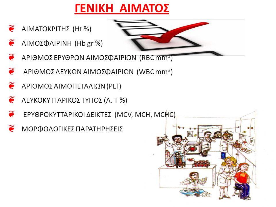 ΓΕΝΙΚΗ ΑΙΜΑΤΟΣ ❦ ΑΙΜΑΤΟΚΡΙΤΗΣ (Ht %) ❦ ΑΙΜΟΣΦΑΙΡΙΝΗ (Hb gr %) ❦ ΑΡΙΘΜΟΣ ΕΡΥΘΡΩΝ ΑΙΜΟΣΦΑΙΡΙΩΝ (RBC mm 3 ) ❦ ΑΡΙΘΜΟΣ ΛΕΥΚΩΝ ΑΙΜΟΣΦΑΙΡΙΩΝ (WBC mm 3 ) ❦ Α