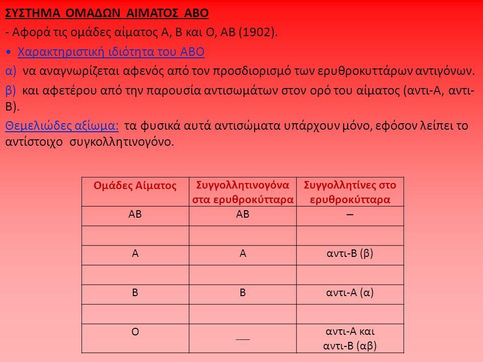 ΣΥΣΤΗΜΑ ΟΜΑΔΩΝ ΑΙΜΑΤΟΣ ΑΒΟ - Αφορά τις ομάδες αίματος Α, Β και Ο, ΑΒ (1902). Χαρακτηριστική ιδιότητα του ΑΒΟ α) να αναγνωρίζεται αφενός από τον προσδι