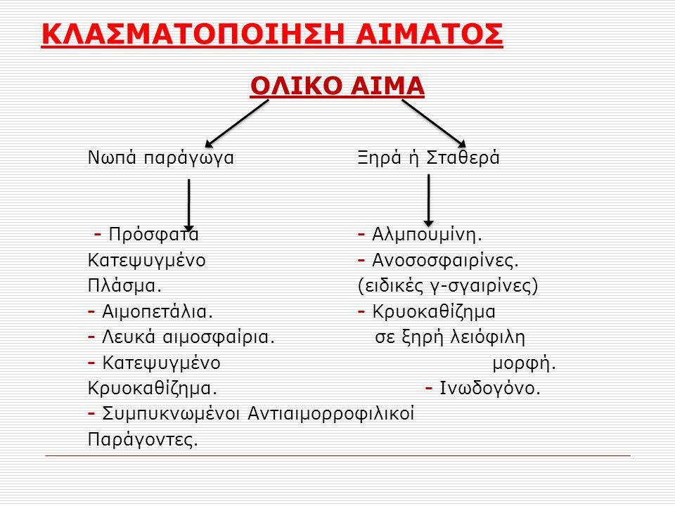ΚΛΑΣΜΑΤΟΠΟΙΗΣΗ ΑΙΜΑΤΟΣ ΟΛΙΚΟ ΑΙΜΑ Νωπά παράγωγα Ξηρά ή Σταθερά - Πρόσφατα- Αλμπουμίνη. Κατεψυγμένο- Ανοσοσφαιρίνες. Πλάσμα.(ειδικές γ-σγαιρίνες) - Αιμ