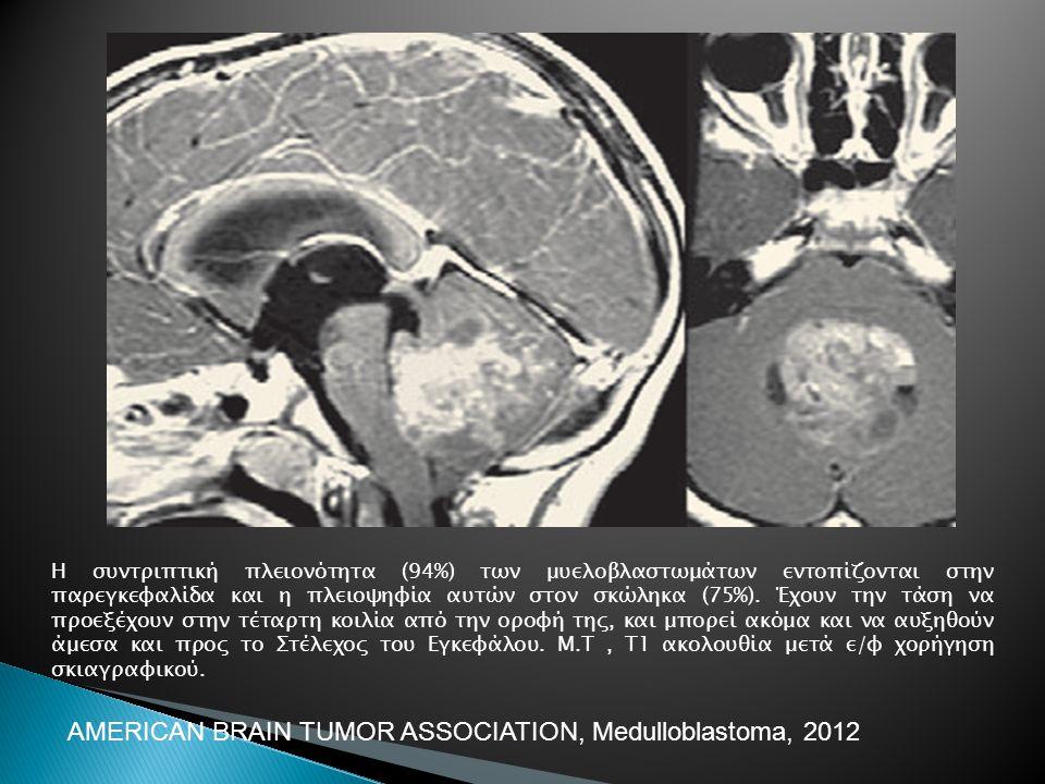 Η συντριπτική πλειονότητα (94%) των μυελοβλαστωμάτων εντοπίζονται στην παρεγκεφαλίδα και η πλειοψηφία αυτών στον σκώληκα (75%). Έχουν την τάση να προε