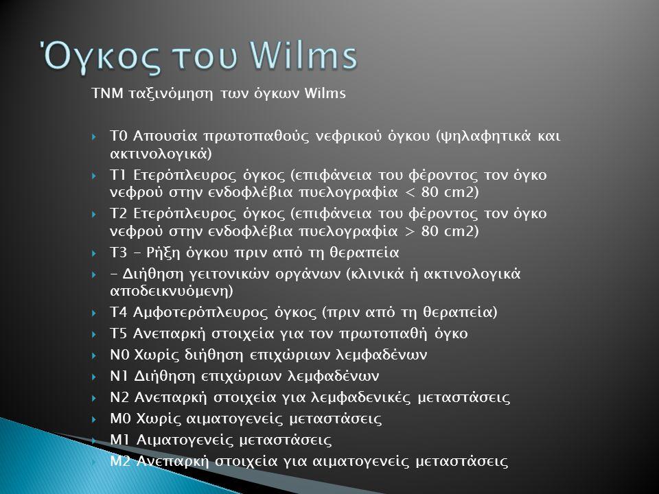 ΤΝΜ ταξινόμηση των όγκων Wilms  Τ0 Απουσία πρωτοπαθούς νεφρικού όγκου (ψηλαφητικά και ακτινολογικά)  Τ1 Ετερόπλευρος όγκος (επιφάνεια του φέροντος τ