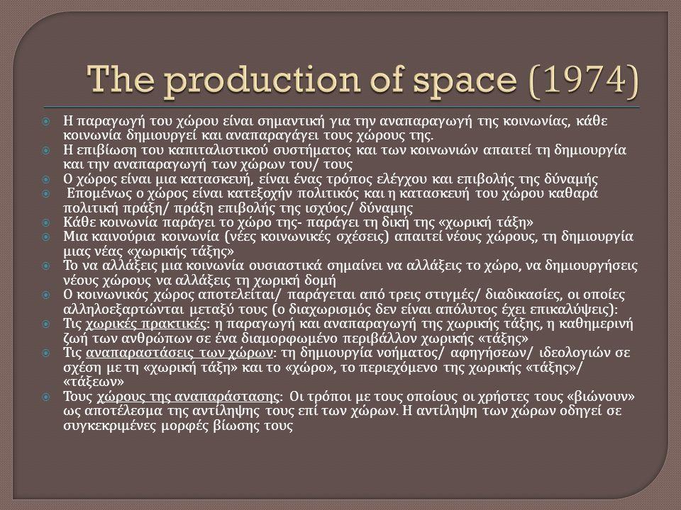  Η παραγωγή του χώρου είναι σημαντική για την αναπαραγωγή της κοινωνίας, κάθε κοινωνία δημιουργεί και αναπαραγάγει τους χώρους της.