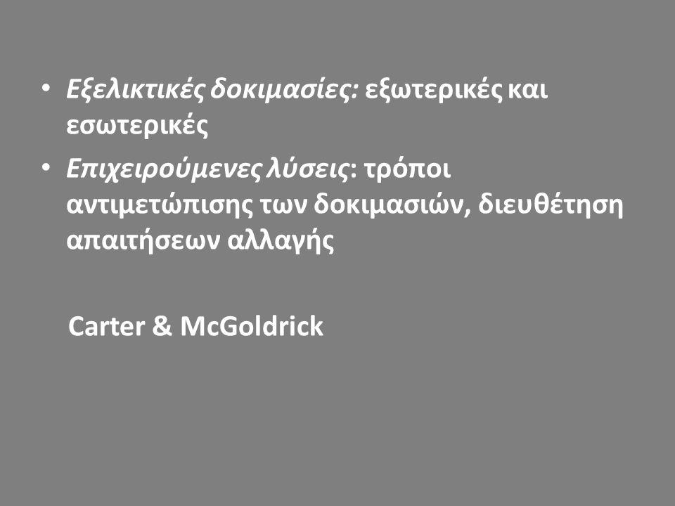 Εξελικτικές δοκιμασίες: εξωτερικές και εσωτερικές Επιχειρούμενες λύσεις: τρόποι αντιμετώπισης των δοκιμασιών, διευθέτηση απαιτήσεων αλλαγής Carter & M