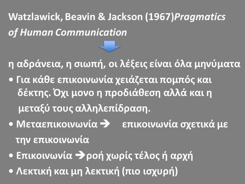 Watzlawick, Beavin & Jackson (1967)Pragmatics of Human Communication η αδράνεια, η σιωπή, οι λέξεις είναι όλα μηνύματα Για κάθε επικοινωνία χειάζεται