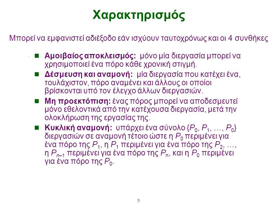 6 Γράφος εκχώρησης πόρων Το V αποτελείται από δύο υποσύνολα:  P = {P 1, P 2, …, P n }, το σύνολο των διεργασιών στο σύστημα.