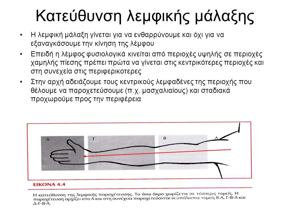 Η λεμφική μάλαξη γίνεται για να ενθαρρύνουμε και όχι για να εξαναγκάσουμε την κίνηση της λέμφου Επειδή η λέμφος φυσιολογικά κινείται από περιοχές υψηλ