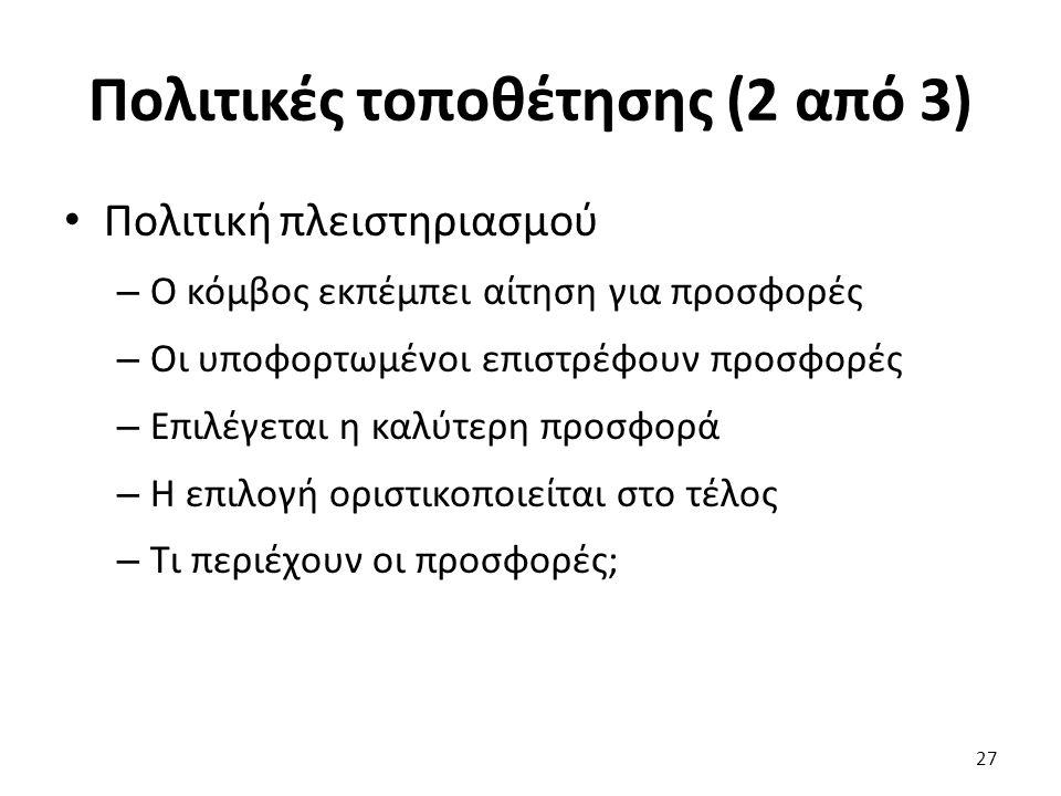 Πολιτικές τοποθέτησης (2 από 3) Πολιτική πλειστηριασμού – Ο κόμβος εκπέμπει αίτηση για προσφορές – Οι υποφορτωμένοι επιστρέφουν προσφορές – Επιλέγεται η καλύτερη προσφορά – Η επιλογή οριστικοποιείται στο τέλος – Τι περιέχουν οι προσφορές; 27