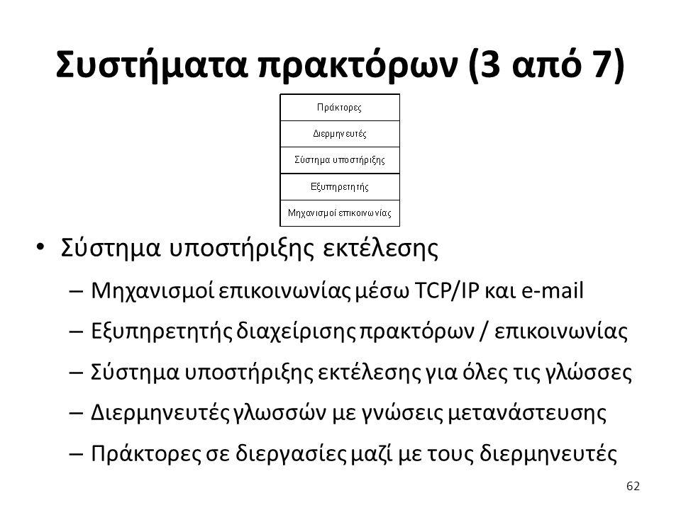 Συστήματα πρακτόρων (3 από 7) Σύστημα υποστήριξης εκτέλεσης – Μηχανισμοί επικοινωνίας μέσω TCP/IP και e-mail – Εξυπηρετητής διαχείρισης πρακτόρων / επικοινωνίας – Σύστημα υποστήριξης εκτέλεσης για όλες τις γλώσσες – Διερμηνευτές γλωσσών με γνώσεις μετανάστευσης – Πράκτορες σε διεργασίες μαζί με τους διερμηνευτές 62