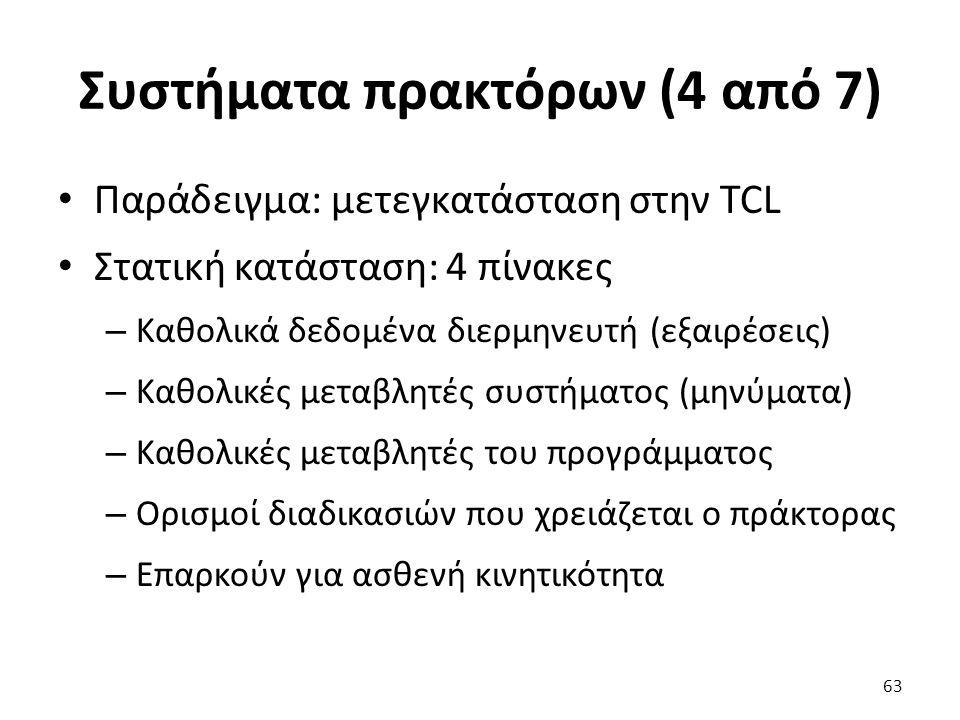 Συστήματα πρακτόρων (4 από 7) Παράδειγμα: μετεγκατάσταση στην TCL Στατική κατάσταση: 4 πίνακες – Καθολικά δεδομένα διερμηνευτή (εξαιρέσεις) – Καθολικές μεταβλητές συστήματος (μηνύματα) – Καθολικές μεταβλητές του προγράμματος – Ορισμοί διαδικασιών που χρειάζεται ο πράκτορας – Επαρκούν για ασθενή κινητικότητα 63
