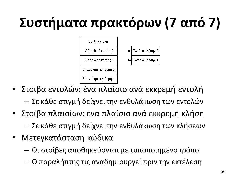 Συστήματα πρακτόρων (7 από 7) Στοίβα εντολών: ένα πλαίσιο ανά εκκρεμή εντολή – Σε κάθε στιγμή δείχνει την ενθυλάκωση των εντολών Στοίβα πλαισίων: ένα πλαίσιο ανά εκκρεμή κλήση – Σε κάθε στιγμή δείχνει την ενθυλάκωση των κλήσεων Μετεγκατάσταση κώδικα – Οι στοίβες αποθηκεύονται με τυποποιημένο τρόπο – Ο παραλήπτης τις αναδημιουργεί πριν την εκτέλεση 66