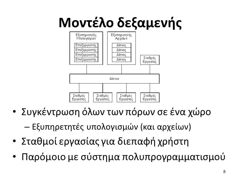 Μοντέλο δεξαμενής Συγκέντρωση όλων των πόρων σε ένα χώρο – Εξυπηρετητές υπολογισμών (και αρχείων) Σταθμοί εργασίας για διεπαφή χρήστη Παρόμοιο με σύστημα πολυπρογραμματισμού 8