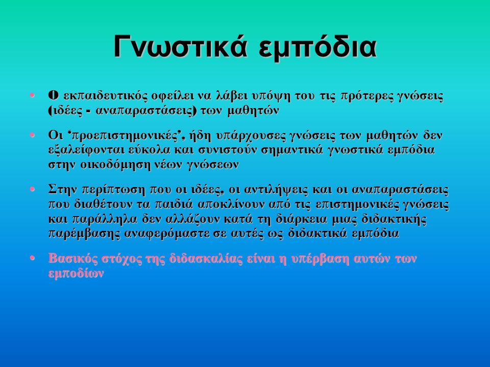 Γνωστικά εμπόδια O εκ π αιδευτικός οφείλει να λάβει υ π όψη του τις π ρότερες γνώσεις ( ιδέες - ανα π αραστάσεις ) των μαθητώνO εκ π αιδευτικός οφείλει να λάβει υ π όψη του τις π ρότερες γνώσεις ( ιδέες - ανα π αραστάσεις ) των μαθητών Οι 'π ροε π ιστημονικές ', ήδη υ π άρχουσες γνώσεις των μαθητών δεν εξαλείφονται εύκολα και συνιστούν σημαντικά γνωστικά εμ π όδια στην οικοδόμηση νέων γνώσεων Οι 'π ροε π ιστημονικές ', ήδη υ π άρχουσες γνώσεις των μαθητών δεν εξαλείφονται εύκολα και συνιστούν σημαντικά γνωστικά εμ π όδια στην οικοδόμηση νέων γνώσεων Στην π ερί π τωση π ου οι ιδέες, οι αντιλήψεις και οι ανα π αραστάσεις π ου διαθέτουν τα π αιδιά α π οκλίνουν α π ό τις ε π ιστημονικές γνώσεις και π αράλληλα δεν αλλάζουν κατά τη διάρκεια μιας διδακτικής π αρέμβασης αναφερόμαστε σε αυτές ως διδακτικά εμ π όδια Στην π ερί π τωση π ου οι ιδέες, οι αντιλήψεις και οι ανα π αραστάσεις π ου διαθέτουν τα π αιδιά α π οκλίνουν α π ό τις ε π ιστημονικές γνώσεις και π αράλληλα δεν αλλάζουν κατά τη διάρκεια μιας διδακτικής π αρέμβασης αναφερόμαστε σε αυτές ως διδακτικά εμ π όδια Βασικός στόχος της διδασκαλίας είναι η υ π έρβαση αυτών των εμ π οδίων Βασικός στόχος της διδασκαλίας είναι η υ π έρβαση αυτών των εμ π οδίων