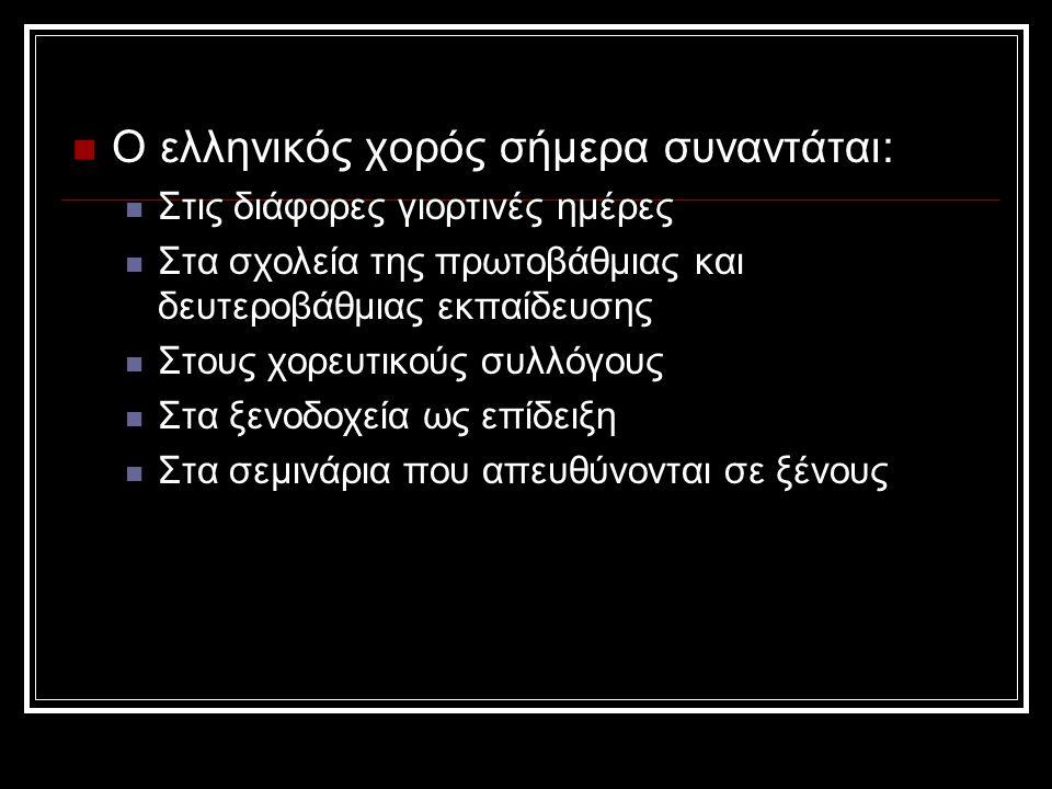 Ο ελληνικός χορός σήμερα συναντάται: Στις διάφορες γιορτινές ημέρες Στα σχολεία της πρωτοβάθμιας και δευτεροβάθμιας εκπαίδευσης Στους χορευτικούς συλλόγους Στα ξενοδοχεία ως επίδειξη Στα σεμινάρια που απευθύνονται σε ξένους