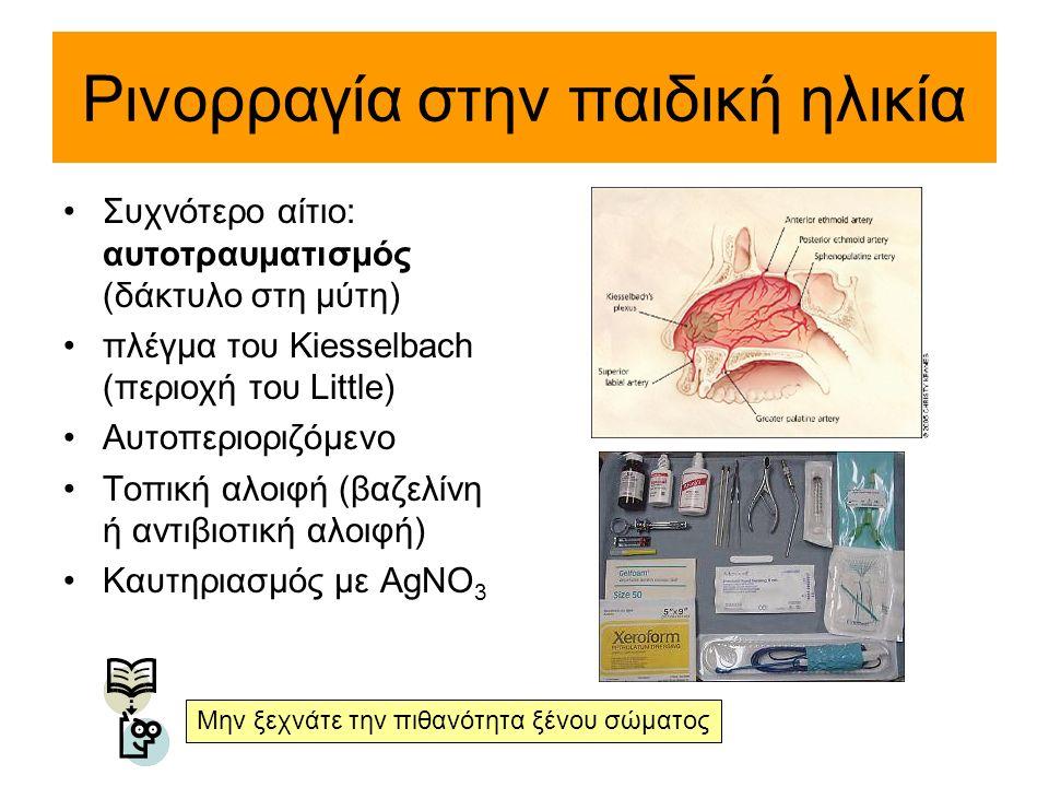 Ρινορραγία στην παιδική ηλικία Συχνότερο αίτιο: αυτοτραυματισμός (δάκτυλο στη μύτη) πλέγμα του Kiesselbach (περιοχή του Little) Αυτοπεριοριζόμενο Τοπι