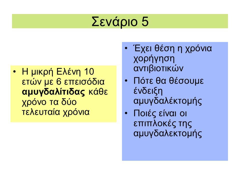 Σενάριο 5 Η μικρή Ελένη 10 ετών με 6 επεισόδια αμυγδαλίτιδας κάθε χρόνο τα δύο τελευταία χρόνια Έχει θέση η χρόνια χορήγηση αντιβιοτικών Πότε θα θέσου