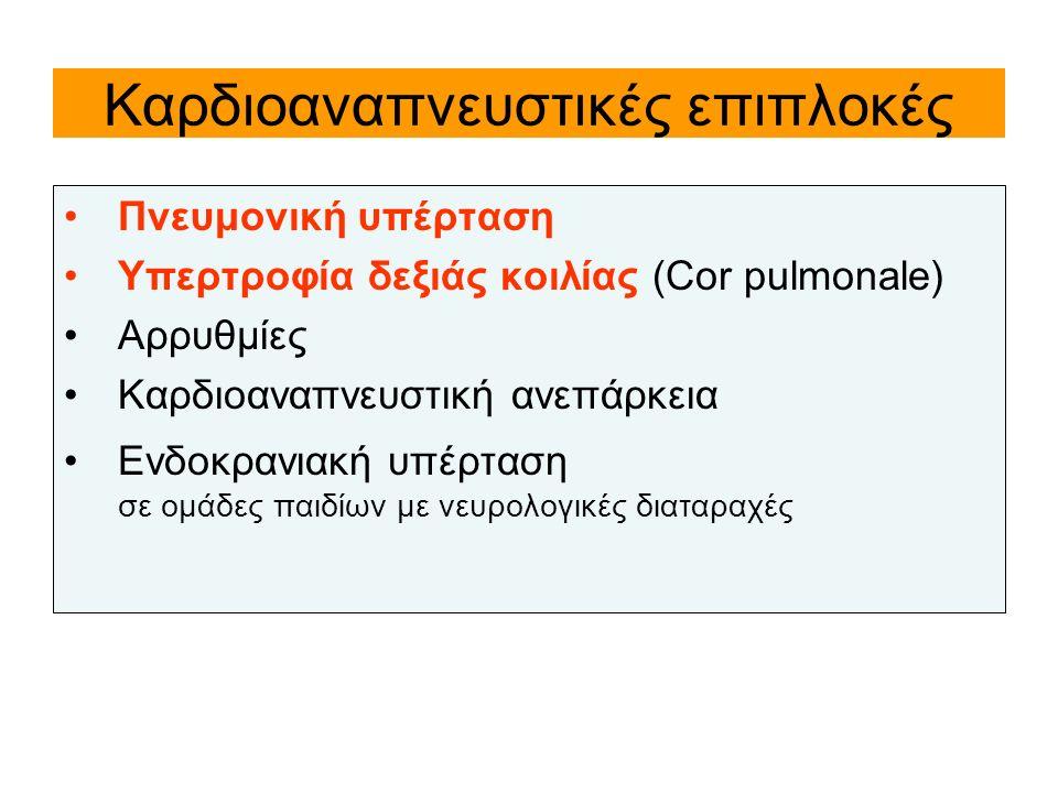 Καρδιοαναπνευστικές επιπλοκές Πνευμονική υπέρταση Υπερτροφία δεξιάς κοιλίας (Cor pulmonale) Αρρυθμίες Καρδιοαναπνευστική ανεπάρκεια Ενδοκρανιακή υπέρτ