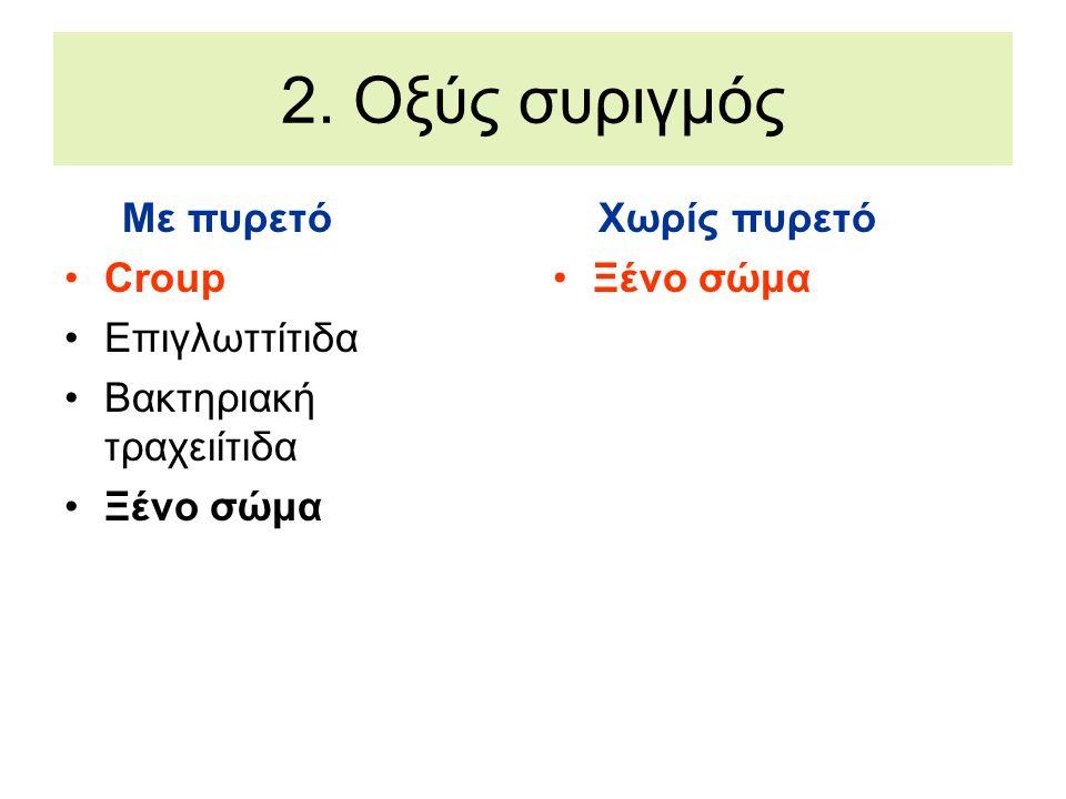 2. Οξύς συριγμός Με πυρετό Croup Επιγλωττίτιδα Βακτηριακή τραχειίτιδα Ξένο σώμα Χωρίς πυρετό Ξένο σώμα