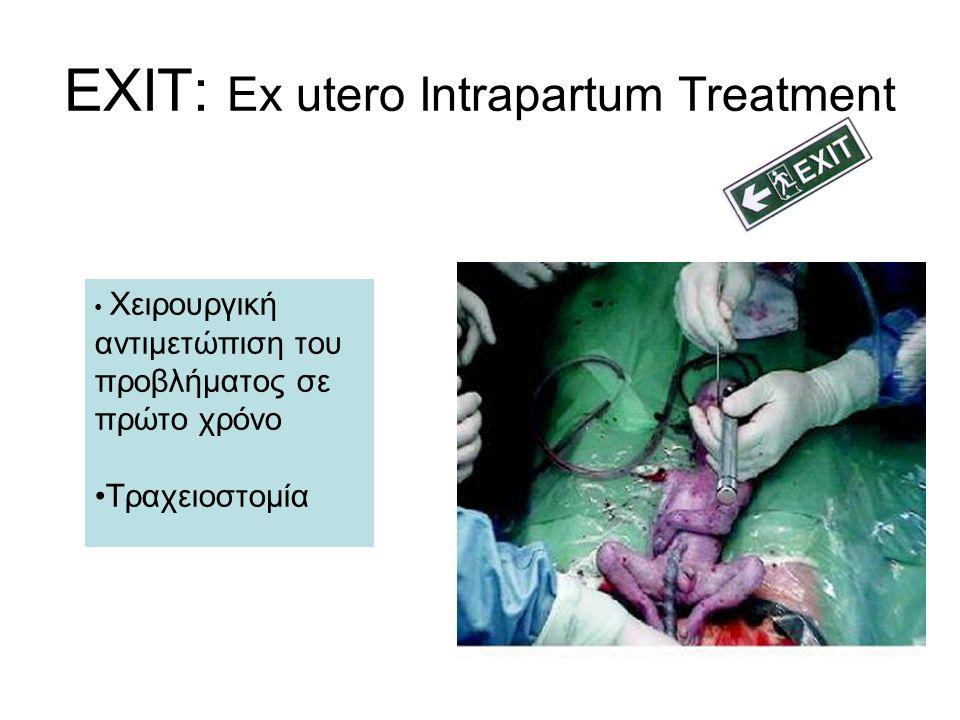EXIT: Ex utero Intrapartum Treatment Χειρουργική αντιμετώπιση του προβλήματος σε πρώτο χρόνο Τραχειοστομία
