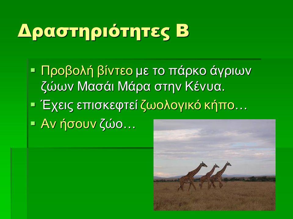 Δραστηριότητες Β  Προβολή βίντεο με το πάρκο άγριων ζώων Μασάι Μάρα στην Κένυα.  Έχεις επισκεφτεί ζωολογικό κήπο…  Αν ήσουν ζώο…