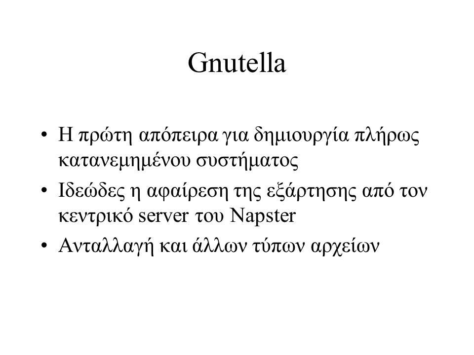 Gnutella Η πρώτη απόπειρα για δημιουργία πλήρως κατανεμημένου συστήματος Ιδεώδες η αφαίρεση της εξάρτησης από τον κεντρικό server του Napster Ανταλλαγ