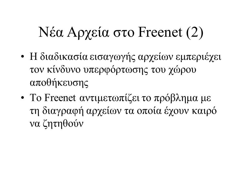 Νέα Αρχεία στο Freenet (2) Η διαδικασία εισαγωγής αρχείων εμπεριέχει τον κίνδυνο υπερφόρτωσης του χώρου αποθήκευσης Το Freenet αντιμετωπίζει το πρόβλημα με τη διαγραφή αρχείων τα οποία έχουν καιρό να ζητηθούν