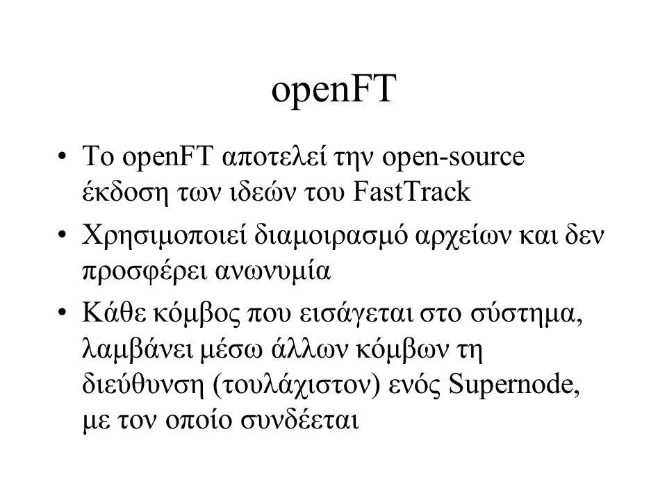 οpenFT To openFT αποτελεί την open-source έκδοση των ιδεών του FastTrack Χρησιμοποιεί διαμοιρασμό αρχείων και δεν προσφέρει ανωνυμία Κάθε κόμβος που εισάγεται στο σύστημα, λαμβάνει μέσω άλλων κόμβων τη διεύθυνση (τουλάχιστον) ενός Supernode, με τον οποίο συνδέεται