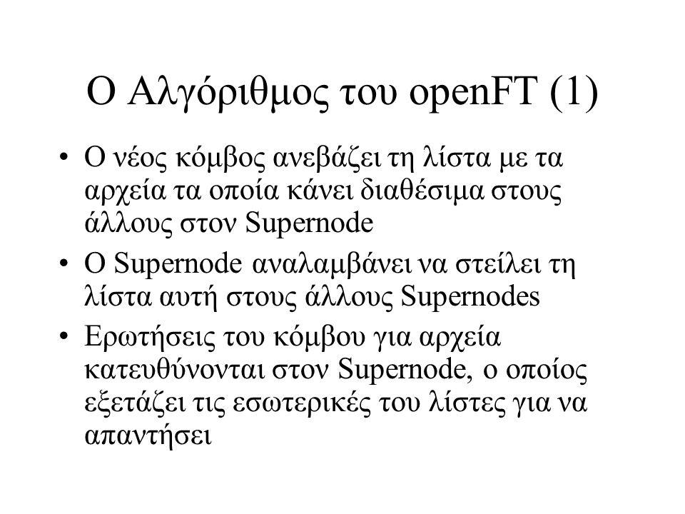 Ο Αλγόριθμος του οpenFT (1) Ο νέος κόμβος ανεβάζει τη λίστα με τα αρχεία τα οποία κάνει διαθέσιμα στους άλλους στον Supernode O Supernode αναλαμβάνει να στείλει τη λίστα αυτή στους άλλους Supernodes Ερωτήσεις του κόμβου για αρχεία κατευθύνονται στον Supernode, o οποίος εξετάζει τις εσωτερικές του λίστες για να απαντήσει