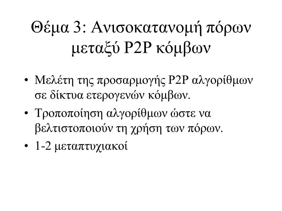 Θέμα 3: Ανισοκατανομή πόρων μεταξύ P2P κόμβων Μελέτη της προσαρμογής P2P αλγορίθμων σε δίκτυα ετερογενών κόμβων.