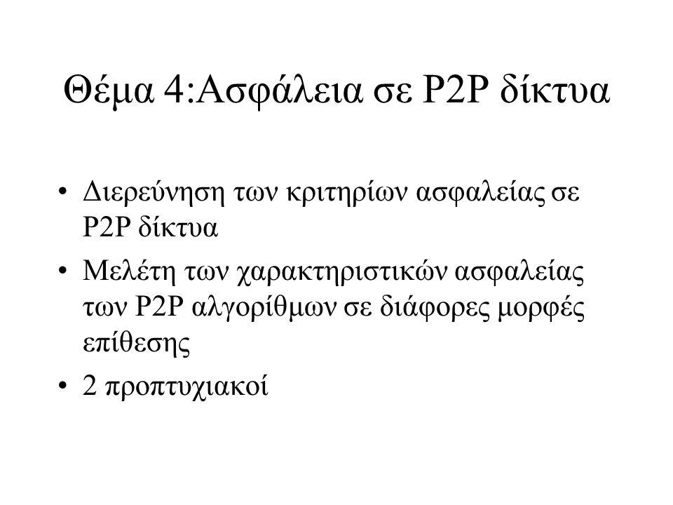Θέμα 4:Ασφάλεια σε P2P δίκτυα Διερεύνηση των κριτηρίων ασφαλείας σε P2P δίκτυα Μελέτη των χαρακτηριστικών ασφαλείας των P2P αλγορίθμων σε διάφορες μορφές επίθεσης 2 προπτυχιακοί