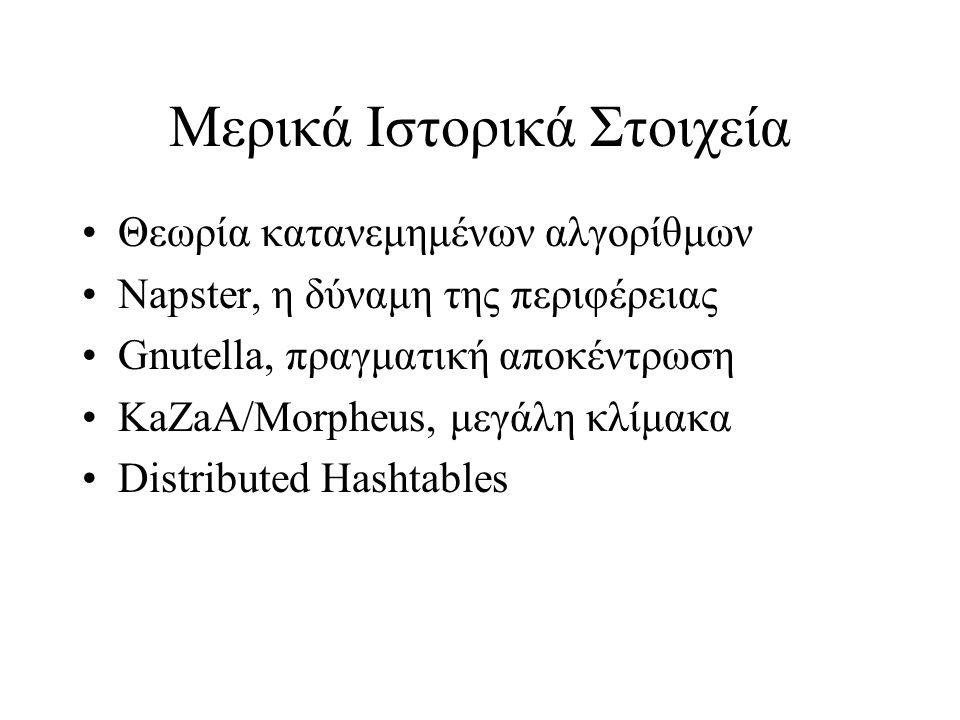 Μερικά Ιστορικά Στοιχεία Θεωρία κατανεμημένων αλγορίθμων Napster, η δύναμη της περιφέρειας Gnutella, πραγματική αποκέντρωση KaZaA/Morpheus, μεγάλη κλίμακα Distributed Hashtables