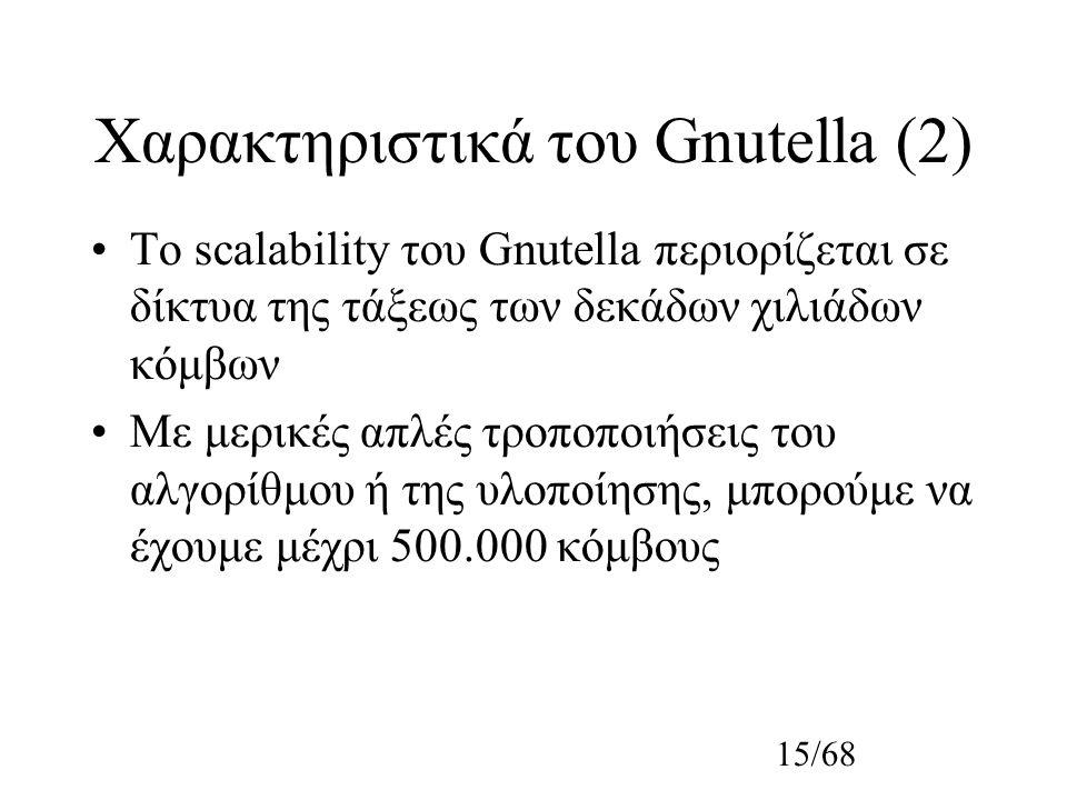 15/68 Χαρακτηριστικά του Gnutella (2) Το scalability του Gnutella περιορίζεται σε δίκτυα της τάξεως των δεκάδων χιλιάδων κόμβων Με μερικές απλές τροποποιήσεις του αλγορίθμου ή της υλοποίησης, μπορούμε να έχουμε μέχρι 500.000 κόμβους