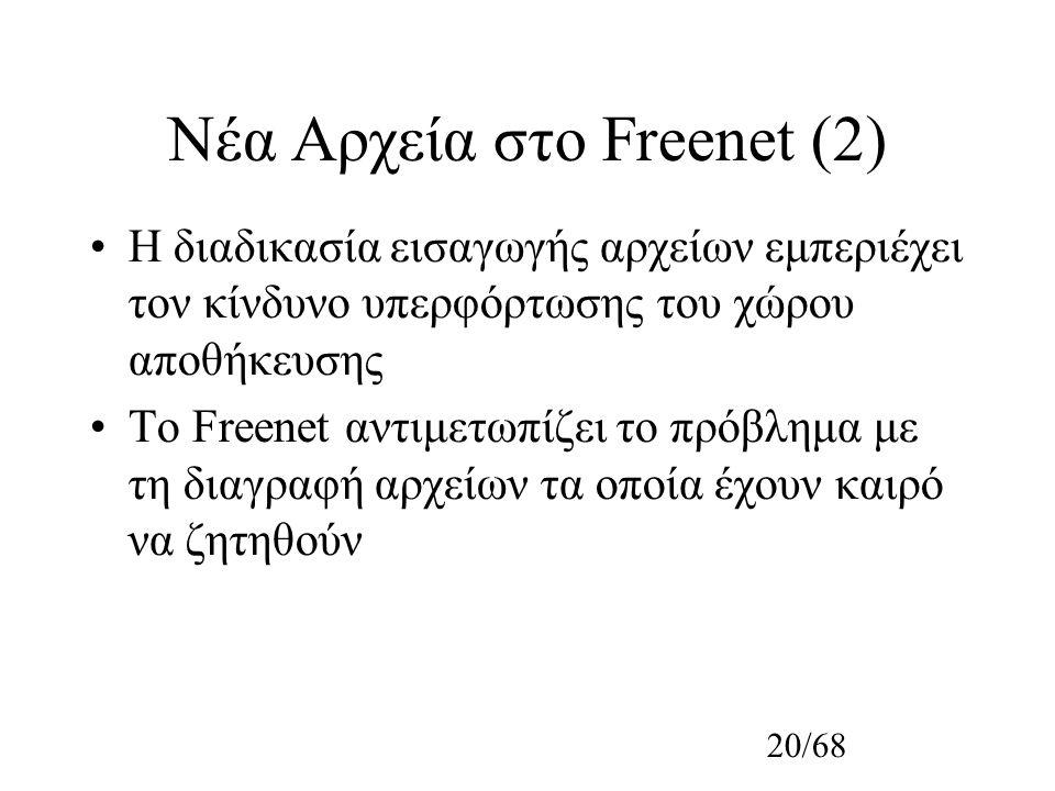 20/68 Νέα Αρχεία στο Freenet (2) Η διαδικασία εισαγωγής αρχείων εμπεριέχει τον κίνδυνο υπερφόρτωσης του χώρου αποθήκευσης Το Freenet αντιμετωπίζει το πρόβλημα με τη διαγραφή αρχείων τα οποία έχουν καιρό να ζητηθούν