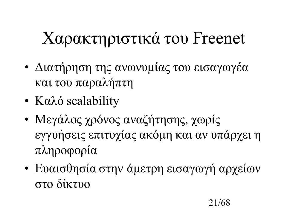 21/68 Χαρακτηριστικά του Freenet Διατήρηση της ανωνυμίας του εισαγωγέα και του παραλήπτη Καλό scalability Μεγάλος χρόνος αναζήτησης, χωρίς εγγυήσεις επιτυχίας ακόμη και αν υπάρχει η πληροφορία Ευαισθησία στην άμετρη εισαγωγή αρχείων στο δίκτυο
