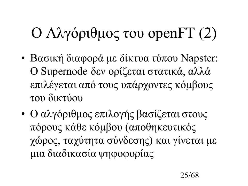 25/68 Ο Αλγόριθμος του οpenFT (2) Βασική διαφορά με δίκτυα τύπου Napster: Ο Supernode δεν ορίζεται στατικά, αλλά επιλέγεται από τους υπάρχοντες κόμβους του δικτύου Ο αλγόριθμος επιλογής βασίζεται στους πόρους κάθε κόμβου (αποθηκευτικός χώρος, ταχύτητα σύνδεσης) και γίνεται με μια διαδικασία ψηφοφορίας