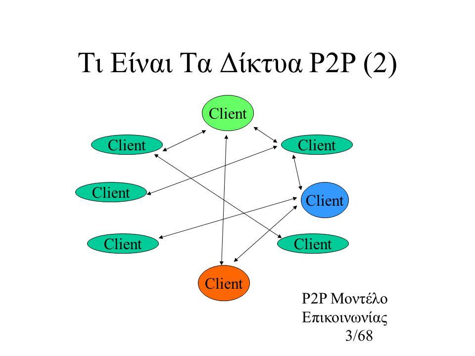 4/68 Χαρακτηριστικά Δικτύων P2P Δεν υπάρχει ακριβής ορισμός Αποκέντρωση, κατανομή ευθύνης Μερική διαθεσιμότητα κόμβων Οι κόμβοι λειτουργούν και ως πελάτες και ως εξυπηρέτες Πλεονασμός παρεχόμενων πληροφοριών και υπηρεσιών Δεν υλοποιούνται απαραίτητα όλα τα χαρακτηριστικά αυτά