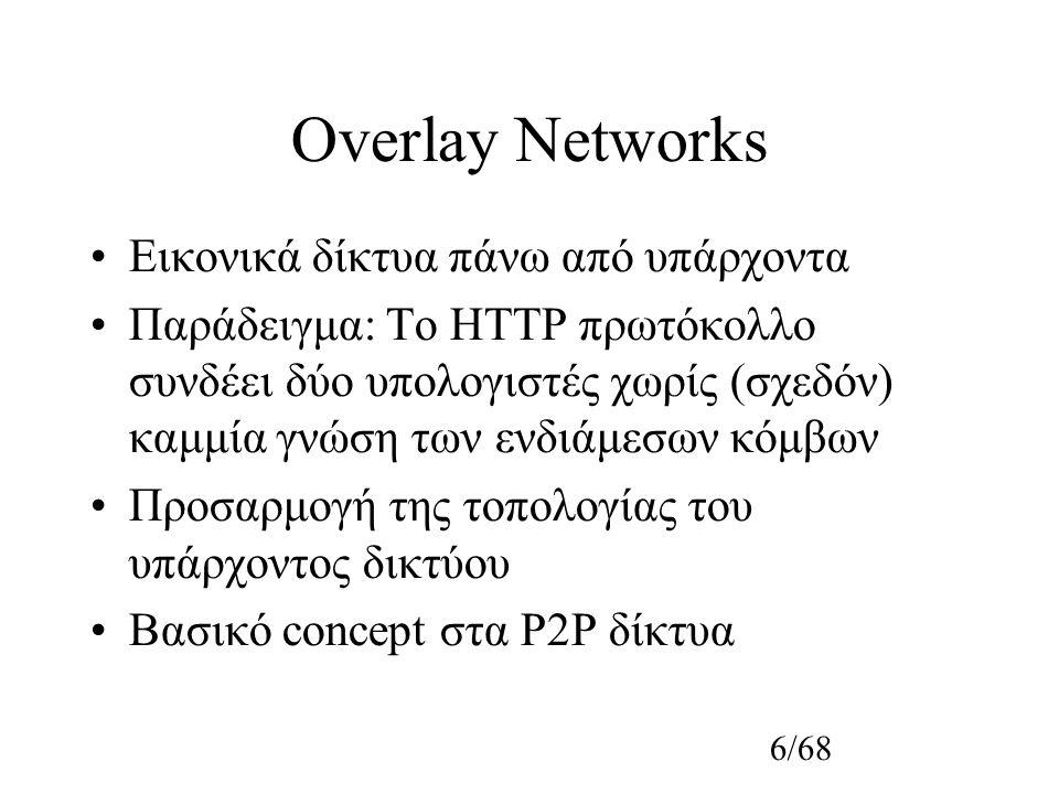 6/68 Overlay Networks Εικονικά δίκτυα πάνω από υπάρχοντα Παράδειγμα: Το HTTP πρωτόκολλο συνδέει δύο υπολογιστές χωρίς (σχεδόν) καμμία γνώση των ενδιάμεσων κόμβων Προσαρμογή της τοπολογίας του υπάρχοντος δικτύου Βασικό concept στα P2P δίκτυα