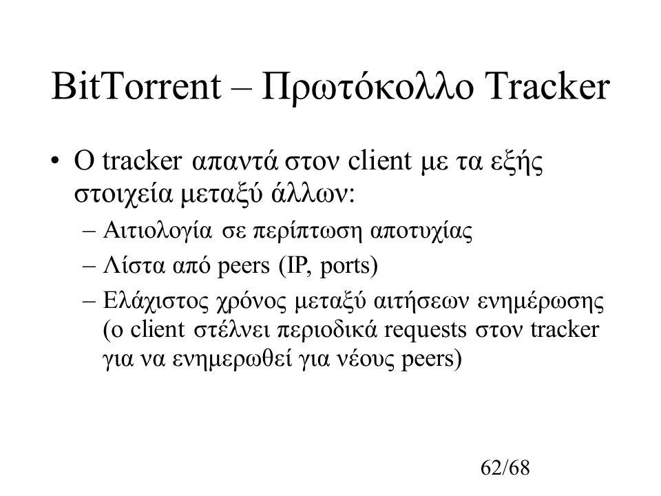 62/68 BitTorrent – Πρωτόκολλο Tracker O tracker απαντά στον client με τα εξής στοιχεία μεταξύ άλλων: –Αιτιολογία σε περίπτωση αποτυχίας –Λίστα από peers (IP, ports) –Ελάχιστος χρόνος μεταξύ αιτήσεων ενημέρωσης (o client στέλνει περιοδικά requests στον tracker για να ενημερωθεί για νέους peers)