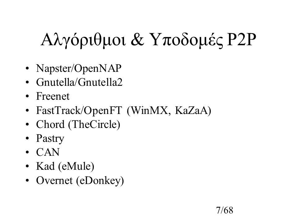 7/68 Αλγόριθμοι & Υποδομές P2P Napster/OpenNAP Gnutella/Gnutella2 Freenet FastTrack/OpenFT (WinMX, KaZaA) Chord (TheCircle) Pastry CAN Kad (eMule) Overnet (eDonkey)