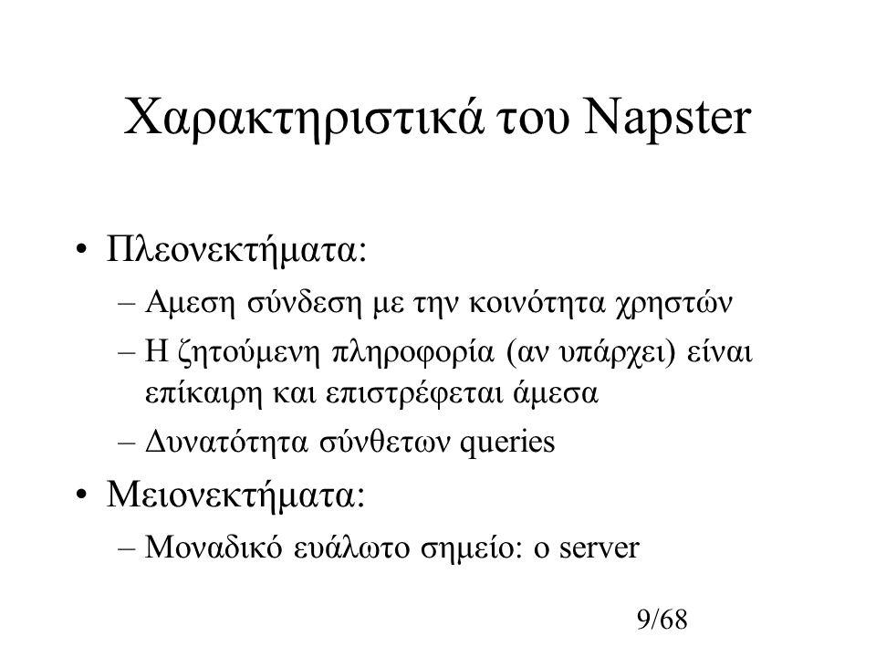 10/68 Gnutella Η πρώτη απόπειρα για δημιουργία πλήρως κατανεμημένου συστήματος Ιδεώδες η αφαίρεση της εξάρτησης από τον κεντρικό server του Napster Ανταλλαγή και άλλων τύπων αρχείων