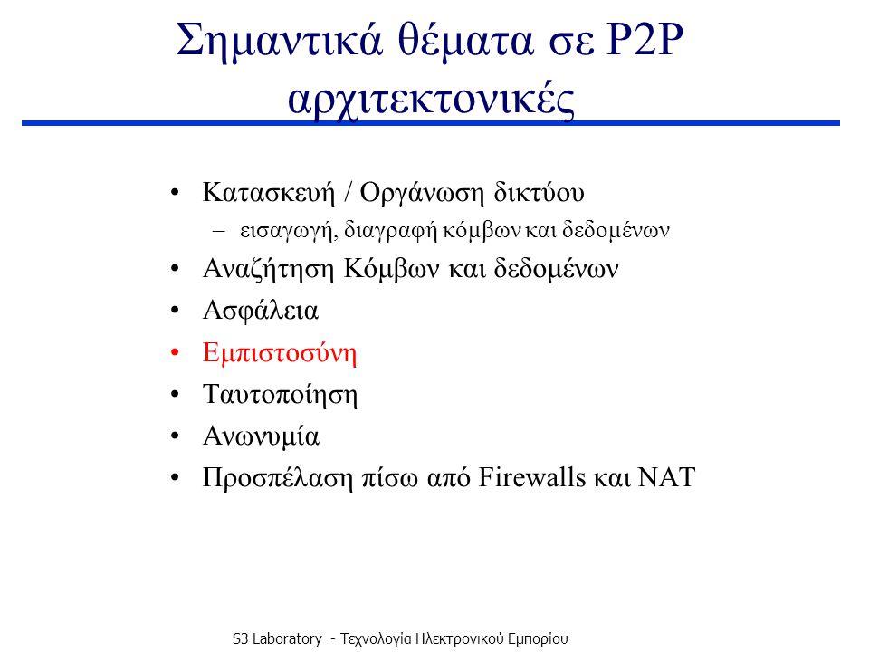 S3 Laboratory - Τεχνολογία Ηλεκτρονικού Εμπορίου Σημαντικά θέματα σε P2P αρχιτεκτονικές Κατασκευή / Οργάνωση δικτύου –εισαγωγή, διαγραφή κόμβων και δεδομένων Αναζήτηση Κόμβων και δεδομένων Ασφάλεια Εμπιστοσύνη Ταυτοποίηση Ανωνυμία Προσπέλαση πίσω από Firewalls και NAT