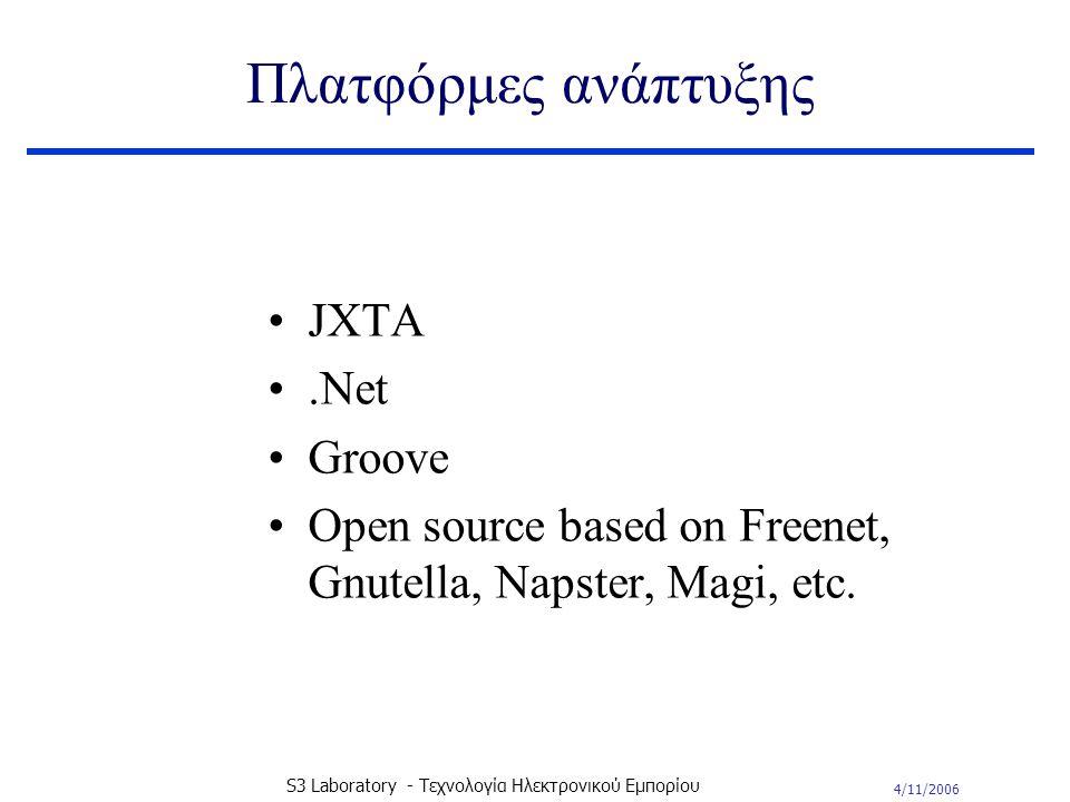 4/11/2006 S3 Laboratory - Τεχνολογία Ηλεκτρονικού Εμπορίου Πλατφόρμες ανάπτυξης JXTA.Net Groove Open source based on Freenet, Gnutella, Napster, Magi, etc.