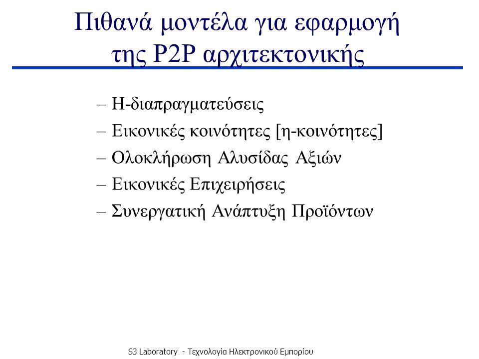 S3 Laboratory - Τεχνολογία Ηλεκτρονικού Εμπορίου Πιθανά μοντέλα για εφαρμογή της P2P αρχιτεκτονικής –Η-διαπραγματεύσεις –Εικονικές κοινότητες [η-κοινότητες] –Ολοκλήρωση Αλυσίδας Αξιών –Εικονικές Επιχειρήσεις –Συνεργατική Ανάπτυξη Προϊόντων