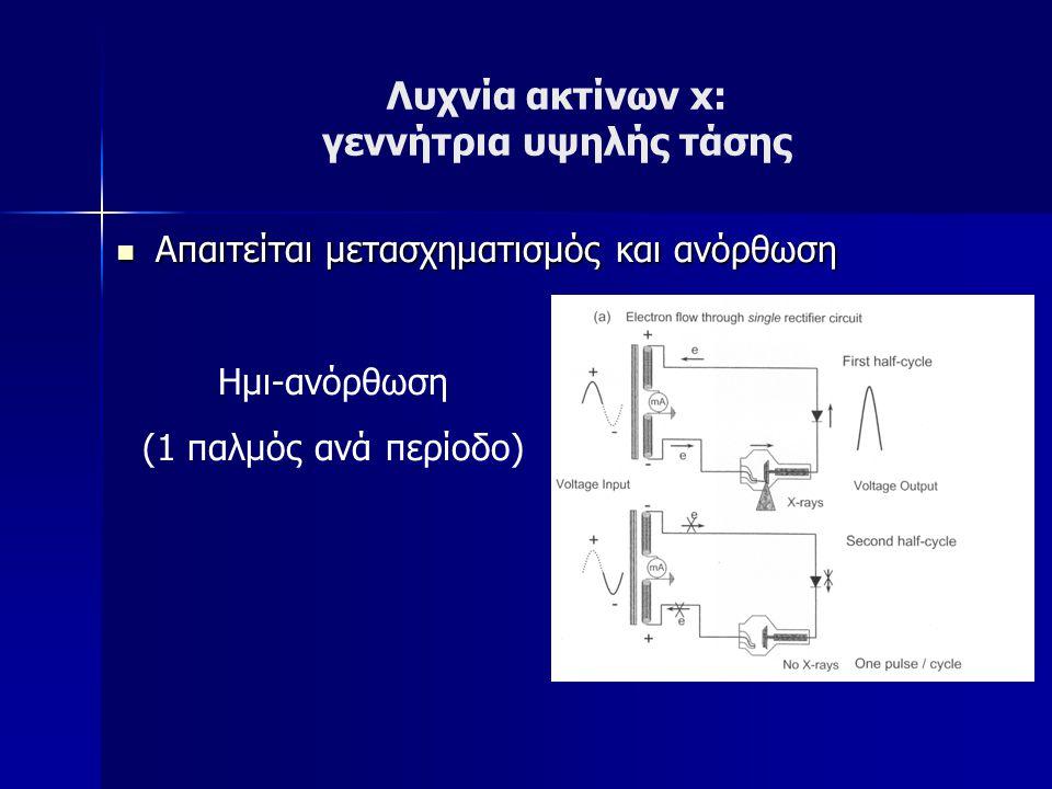 Λυχνία ακτίνων x: γεννήτρια υψηλής τάσης Απαιτείται μετασχηματισμός και ανόρθωση Απαιτείται μετασχηματισμός και ανόρθωση Ημι-ανόρθωση (1 παλμός ανά περίοδο)