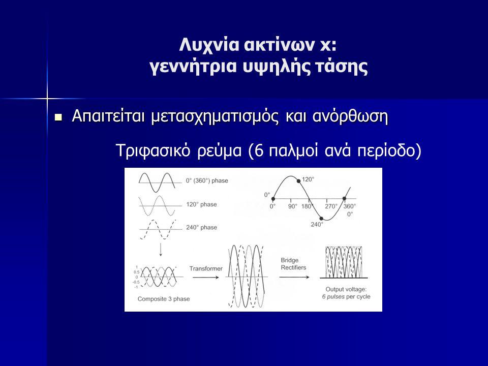 Λυχνία ακτίνων x: γεννήτρια υψηλής τάσης Απαιτείται μετασχηματισμός και ανόρθωση Απαιτείται μετασχηματισμός και ανόρθωση Τριφασικό ρεύμα (6 παλμοί ανά περίοδο)